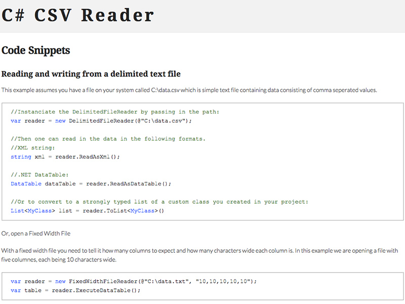 Click to view C# CSV Reader screenshots